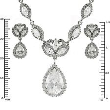 Pave Marquise And Teardrop Halo Necklace+Earring Set Attachable CZ Extender
