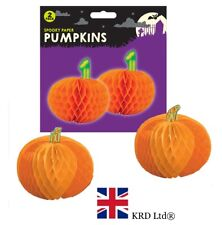 2x Spooky Halloween PAPER PUMPKINS Orange Honeycomb Hanging Party Decorations UK