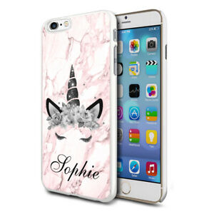 Personalised Pink Marble Unicorn Phone Case Cover For Apple Samsung Initial Name
