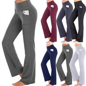 Womens High Waist Yoga Pants Flare Wide Leg Gym Sports Workout Bootcut Trousers