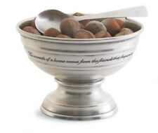 Antique Pewter Small Engraved Pedistal Bowl with spoon 6x5