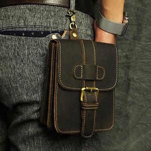 Men's Hook Fanny Waist Bag Vintage Genuine Cowhide Leather Phone Belt Pouch bag