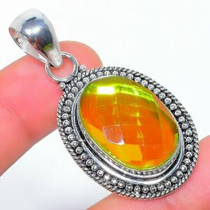 "Yellow Fire Mystic Topaz 925 Sterling Silver Jewelry Pendant 2.0"" W2439"