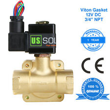 """U. S. Solid 3/4"""" Brass Electric Solenoid Valve 12V DC Normally Closed VITON"""