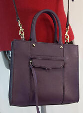 Rebecca Minkoff MINI MAB TOTE Crossbody Handbag LEATHER Purse PORT Purple MINT