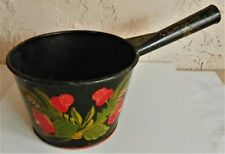 Rare French Toleware Decorative Folk Art Kitchen Pot Hand Painted Signed