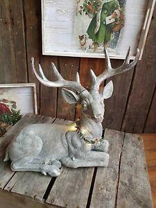 Edle Hirsch Figur mit Licht 38 cm silber Tisch Deko Weihnachten Jäger