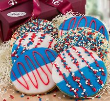 Dulcet Gift Baskets 6 Red, White, and Blue Star Sprinkled Patriotic Cookies