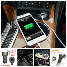 3in1 Multifunction Dual USB Car Charger Safety Hammer Belt Cutter Phone Charger