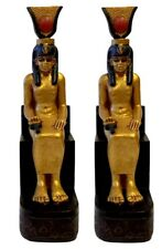 Isis Holding Ankh Miniature Figurine PAIR Fairy Garden or Egyptian Game Playing