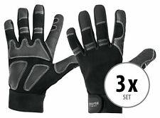 3 Paar Profi Rigger Handschuhe mit langen Fingern aus Kunstleder schwarz/grau