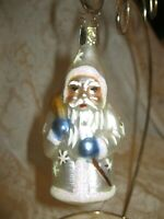 VINTAGE OLD WORLD CHRISTMAS ORNAMENT - STAR CAP - SANTA IN WHITE W/ BLUE MITTENS