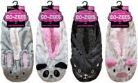 Ladies Luxury/Girls 3D Animal Design Velour  Fleece Lined Gripper Sole Slippers