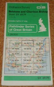 UK ORDNANCE SURVEY Pathfinder (1:25000) Map SX 69/79 - Belstone, Cheriton Bishop