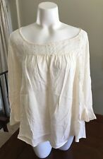 Maurices Peasant Blouse Off White Womens Plus Size XXL