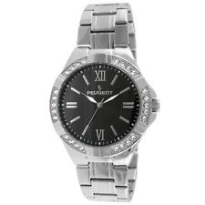 Peugeot 1043S Men's Swarovski Crystal Accent Bezel Silver-tone Black Dial Watch