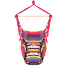 Distinctive Cotton Canvas Hanging Rope Chair with Pillows Rainbow Hammocks