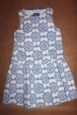 New Janie & Jack Riviera Vacation Size 6 White Blue Flower Bow Dress