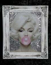 Limited Marilyn Monroe Glitter Canvas Picture Shabby Chic frame , Wall Art.