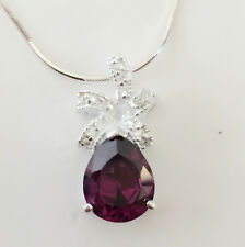925 Sterling Silver Amethyst Rain Pear Drop Floral Charm Pendant Necklace PD1052