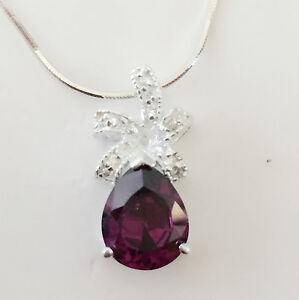 925 Sterling Silver Amethyst Rain Pear Drop Floral Charm Pendant Necklace P1052A