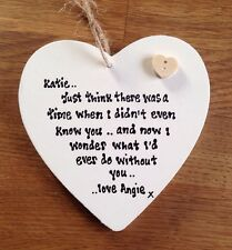 Shabby Personalised Chic Heart.. Best Friend Special Gift Husband Wife Sentiment