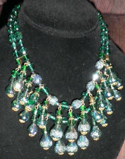 Vintage Antique Green art glass bead necklace made in1950's signed  West Germany