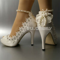 "su.cheny 3"" 4"" heel satin white ivory lace anklet open toe Wedding shoes size"