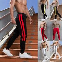 Herren Casual Sport Lange Hose Jogger Jogginghose Stripe Slim Mode Hose