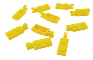 10 Stück LEGO Stein Platte 1x2 mit Clip Horizontal, Gelb, 42923 / 63868, NEU
