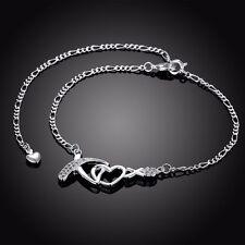 Sterling Silver 925 XOXO Crystal Anklet Bracelet Adjustable Free Gift Bag