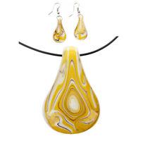 Conjunto de Murano en fprma de gota de agua Collar + Pendiente amarillo I1U6