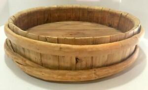 "Antq 1861 Staved Wooden Batter Tub/Bowl Scandinavian Primitive 15 3/4"" D"