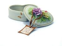 Arnart Ivory Bisque Porcelain Heart Shaped Floral Trinket Box