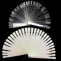 50 Pcs Transparent False Nail Art Tips Stick Display Practice Fan Board EB