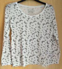 Butterfly Print Long Sleeve Top.  Thin Knit. Size 14.  Polycotton. White & Black