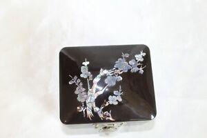 Vintage Black Enamelware Trinket Box w/ Oriental Floral Inlay Turtle Closure