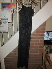 BNWT £70 UK 8 Lipsy Maxi Dress Black Silver Glitter Cross Over Strap Slit Party