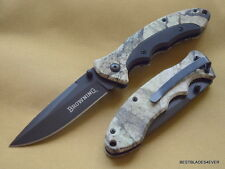 BROWNING CAMO MOSSY OAK LINERLOCK FOLDING KNIFE 4.5 INCH CLOSED WITH POCKET CLIP
