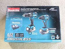 Makita XT248MB 18 Volt Brushless Combo Too Kit Hammer Drill & Impact Driver NEW