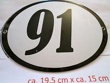 Hausnummer Oval Emaille schwarze Nr. 91  weißer Hintergrund 19 cm x 15 cm