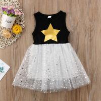 Sequins Stars Kids Baby Girls Sleeveless Princess Dress Lace Party Tutu Dress US