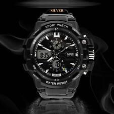 Dual Display Men's Multifunction Waterproof Outdoor Sports Wrist Watch White TH