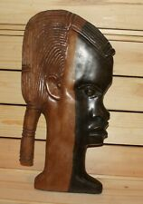Vintage African hand carving wood wall hanging plaque woman head