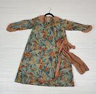 Vintage Antique 1920s Cotton Dress with Floral Print Blue Orange Flapper Era