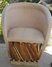 Mexican Equipale Cushioned Leather Chair - Natural Color 002N