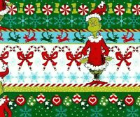 HOW THE GRINCH STOLE CHRISTMAS  FABRIC STRIPE QUILTING DOCTOR SEUSS  BY THE YARD