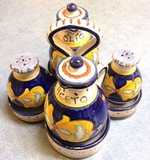 Deruta Pottery-Set Of 4:Oil,V,S,P Barocco Roccoco'.Made/Painted by hand in Italy