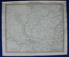 NORTH AMERICA IX, MISSOURI, ILLINOIS, INDIANA, original antique map, SDUK, 1844