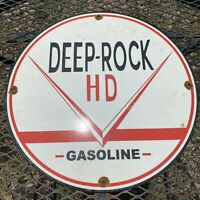 VINTAGE DEEP ROCK HD GASOLINE PORCELAIN METAL SIGN GAS OIL STATION PUMP PLATE 12